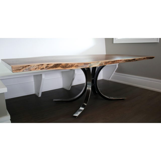 Image of Osvaldo Borsani Table Base with Live Edge Walnut Top