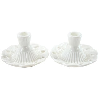 Fostoria 1950 Milk Glass Candleholders - A Pair