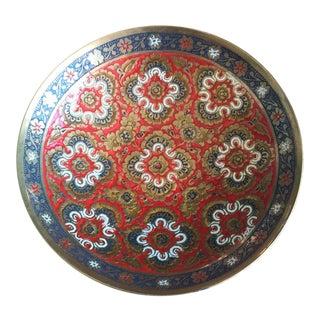 Antique Chinoiserie Cloisonné Brass Pedestal Dish