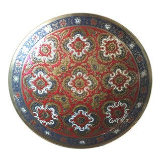 Antique Chinoiserie Cloisonné Brass Pedestal Dish