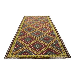 Vintage Turkish Kilim Rug, Handmade Kilim