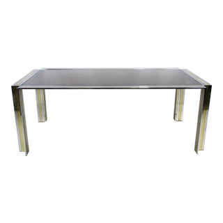 70's Chrome & Brass Dining Table by Romeo Rega- Italy