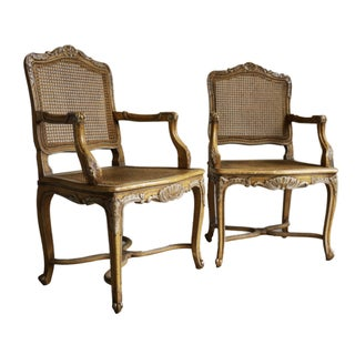 French Louis XIV Style Cane Armchairs - A Pair