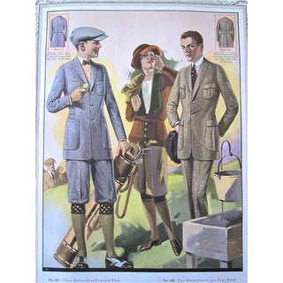 Golf Fashions 1923 Original Tailor Shop Poster