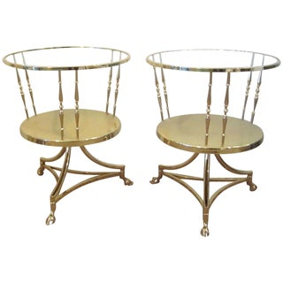 Solid Brass Side Table With Glass Tops - a Pair