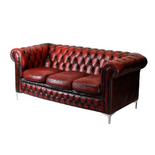 1970's English Leather Chesterfield Sofa
