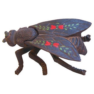 1950s Hand-Painted Insect Fly Trinket Box