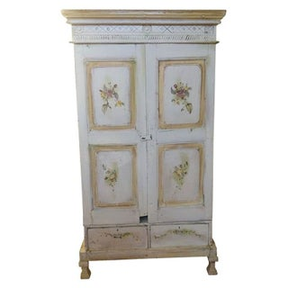 Rustic White Floral Painted Armoir