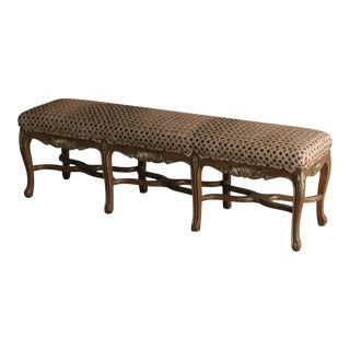 Regence Style Painted Bench, Eight Cabriole Legs with Stretchers, Upholstered Seat, France