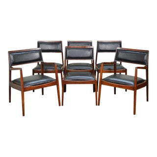 Jens Risom Mid Century Modern Walnut & Black Leather Dining Chairs - Set of 6