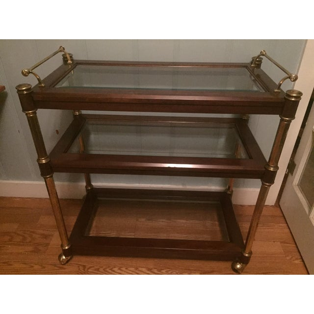 Hollywood Regency Walnut & Brass 3 Tier Bar Cart Server - Image 2 of 3