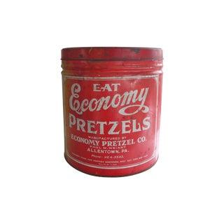 Vintage Red Printed Economy Pretzel Co. Tin