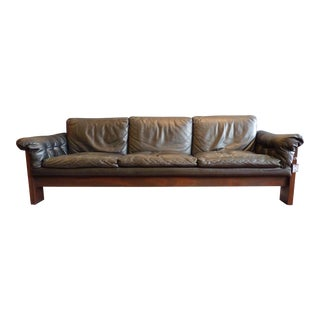 Vintage Rosewood and Leather Sofa by Milo Baughman for Thayer Coggin 1969