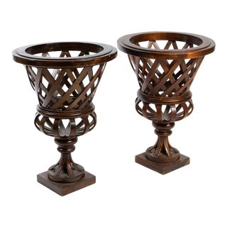 French Trellis Work Wooden Urns- A Pair