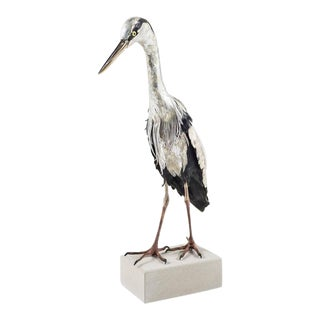 Self-Reliance 2 - a life size heron sculpture made of leather and clay