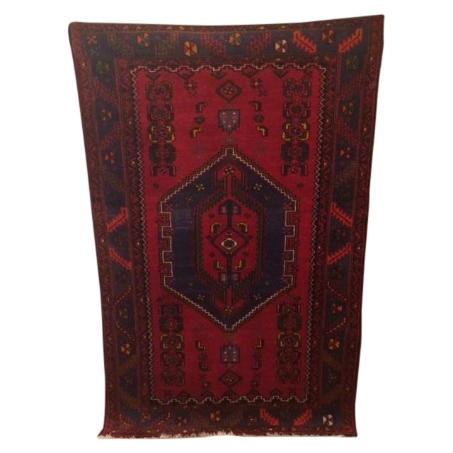 Vintage Blue and Red Persian Rug - 3′12″ × 6′2″ - Image 1 of 5