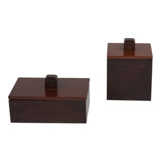 Set of Two Mahogany and Rosewood Lidded Boxes, 1930s