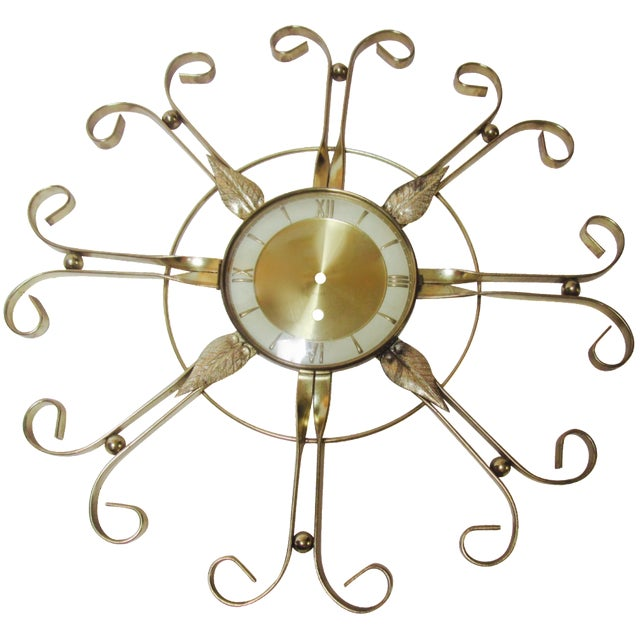 Mid Century Modern Hollywood Regency Atomic Clock - Image 1 of 11