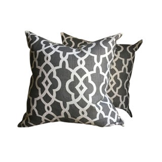 Graphite & White Pillow Covers - a Pair