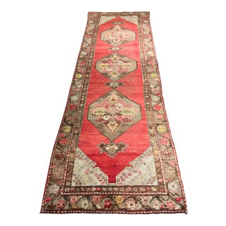 "Impeccable Vintage Turkish Oushak Runner - 3'1""x10'"
