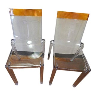 "Kartell ""Hi-Cut"" Acrylic Modern Signed Chairs - A Pair"
