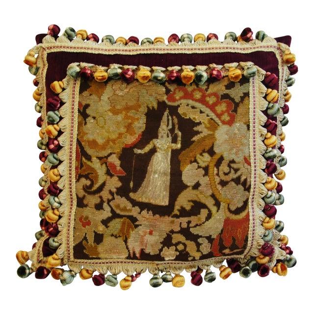 Custom Antique French Needlepoint & Velvet Pillow - Image 1 of 11