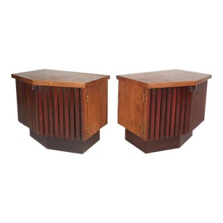 Mid-Century Modern Rosewood and Walnut Nightstands