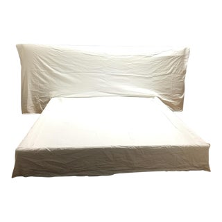 King Size White Linen Bed Frame & Head Board