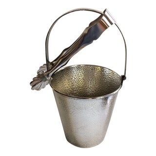 Vintage Meriden Silver Plate Co. Ice Bucket & Tongs