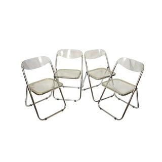Italian Mid-Century Lucite Folding Chairs - Set of 4