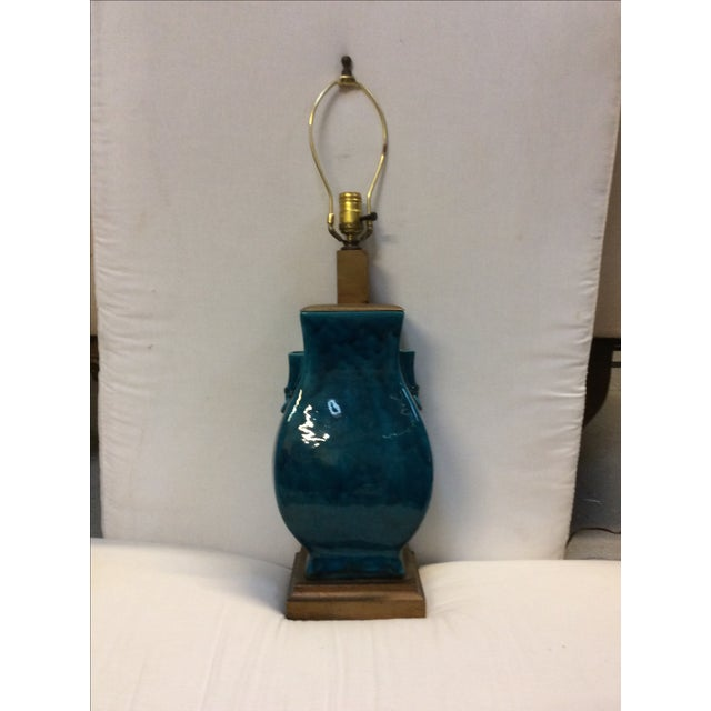 Turquoise Blue Asian Porcelain Lamp - Image 5 of 8