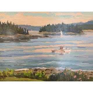 Serene Oil Painting of a Maine Lobsterboat