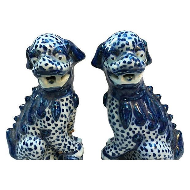 Image of Chinese Blue & White Foo Dogs - Pair