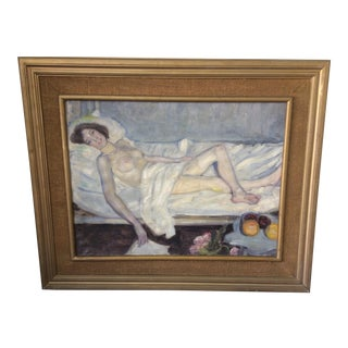 Nude Woman Unsigned Oil Painting