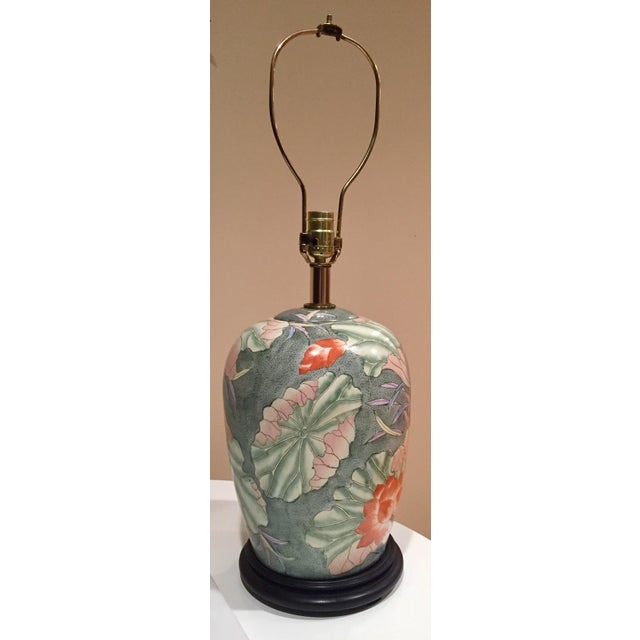 Floral Ginger Jar Lamp With Dark Wood Base - Image 3 of 10