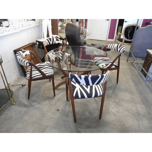 Danish Modern Glass Table & 4 Chairs - Image 2 of 8