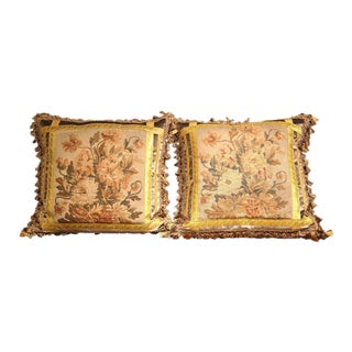 Gold Trim Aubusson Tapestry Pillows - A Pair