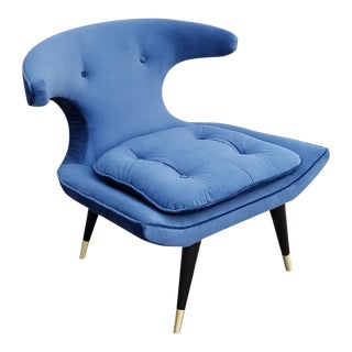 Blue Velvet Lounge Chair