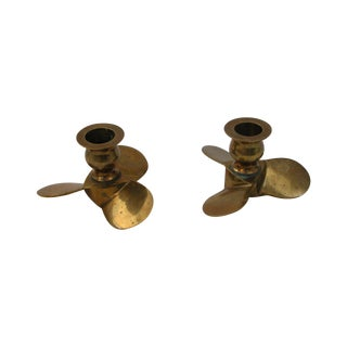 Brass Propeller Candle Holders- A Pair