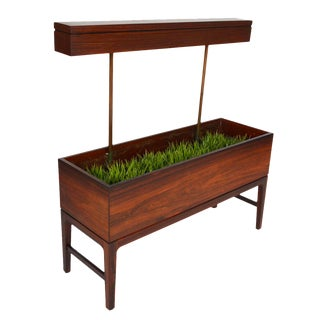 Large Danish Modern Rosewood Planter with Light