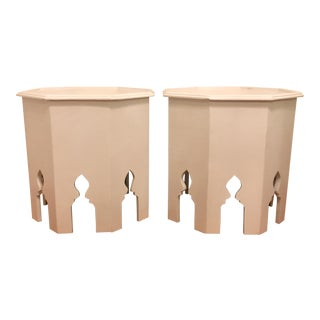 Moroccan White Side Tables- A Pair