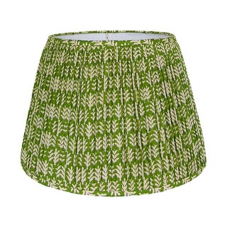 New, Made to Order, Green and Cream Cotton Printed Fabric, Pleated/Gathered Lamp Shade