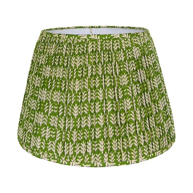New, Made to Order, Green and Cream Cotton Printed Fabric, Pleated/Gathered Lamp Shade - Image 1 of 4