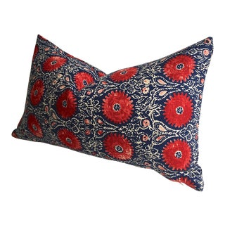 Bohemian Ruby & Indigo Floral Zipper Pillow