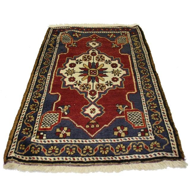 """Vintage Navy & Red Kurdish Carpet - 2' x 3'2"""" - Image 2 of 2"""