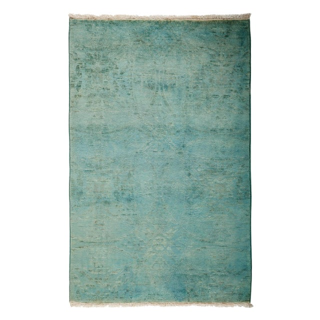 "Overdyed Hand Knotted Area Rug - 3'1"" X 4'10"" - Image 1 of 3"