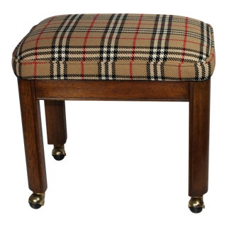 Burberry Wool Plaid Upholstered Stool