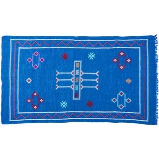 Blue Moroccan Silk Rug - 5'1'' x 3'