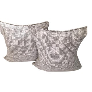 Schumacher Grey Greek Key Pillows - A Pair