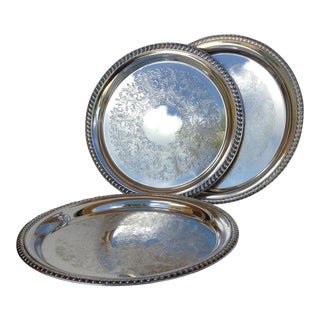 Large Silver Plate Round Platter Trays -Set of 3